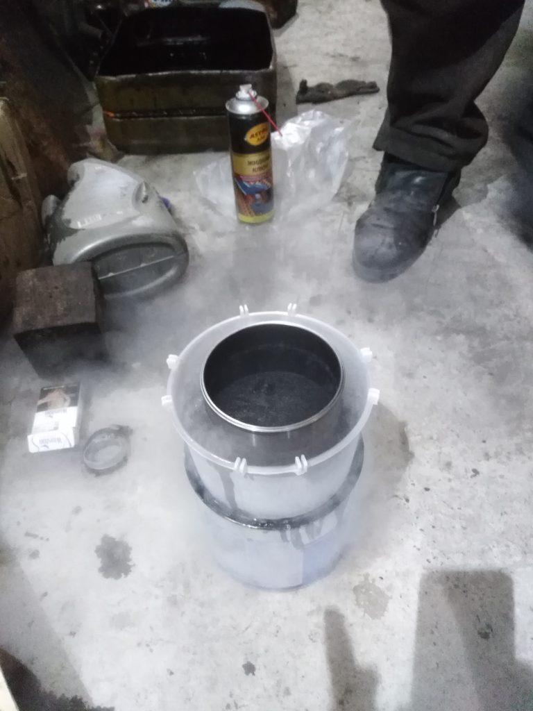Гильзовка блока цилиндров в жидком азоте